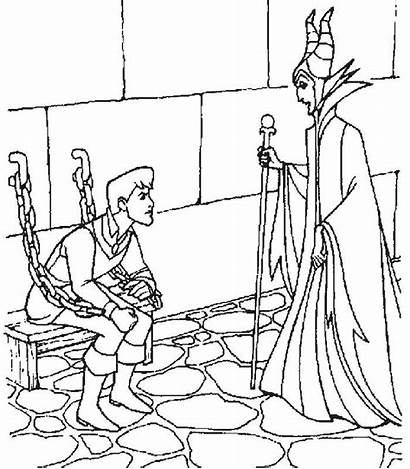 Coloring Sleeping Pages Beauty Disney Princess Witch