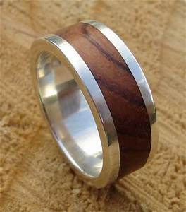 Men39s Wood Inlay Silver Wedding Ring LOVE2HAVE In The UK