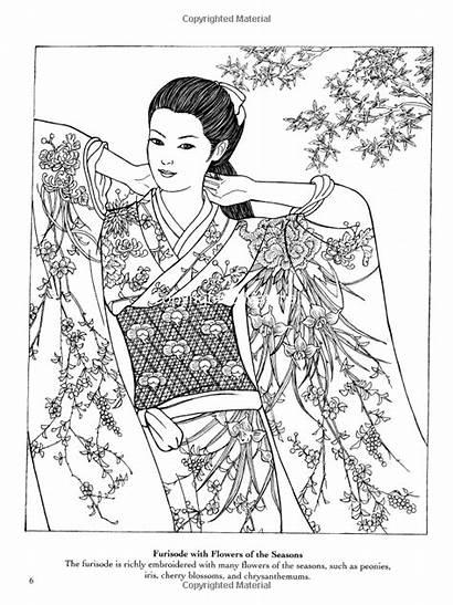 Coloring Kimono Japanese Designs Template