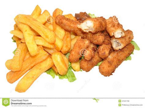 Fish Goujons Chips Stock Photos
