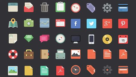 33+ Best Free Flat Icons For Designers -designbump