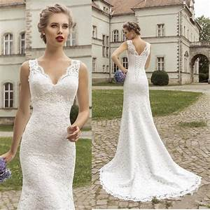 2015 simple classic delicate v neck sheer lace slim With slim wedding dresses