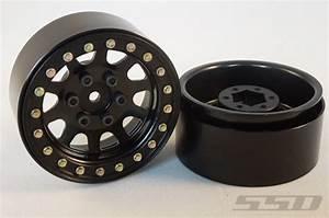 """1.9"""" Steel Beadlock D Hole Wheels 2 BLACK 12mm Hex mount ..."""