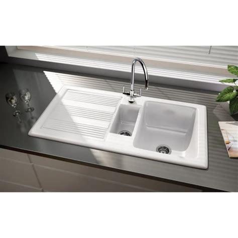 white ceramic 1 5 bowl kitchen sink rangemaster portland sink 1 5 bowl reversible in white 2041