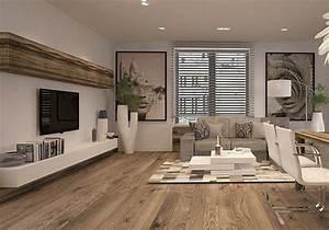 ecran plat mural une option elegante pour le salon With salon avec parquet
