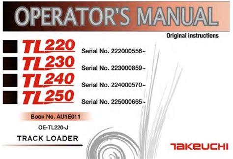 takeuchi tl tl tl tl track loader operators manual service manual
