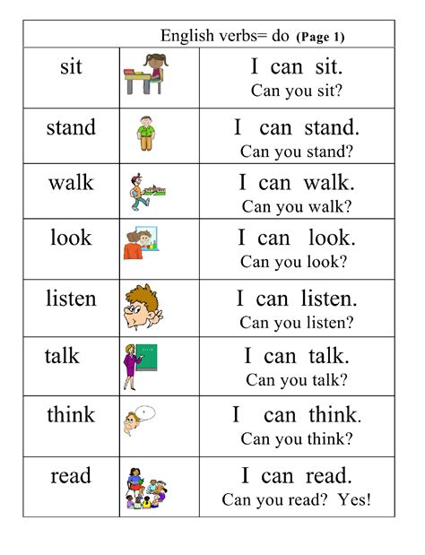 Very Basic Verbs Group 1 Pictures, Words, Simple Sentences, Page 1  English 4 Me 2