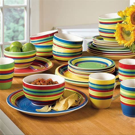 Santa Fe Hand Painted Striped Stoneware Dinnerware