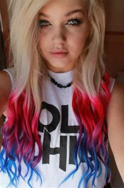 Blonde Hair With Blue Red Pink And Purple Tips Love The