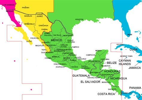 mexico central america time zone map cities clock