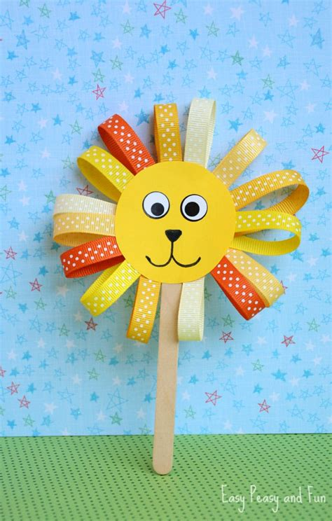 Ribbon Lion Puppet Craft  Lion Crafts For Kids Easy