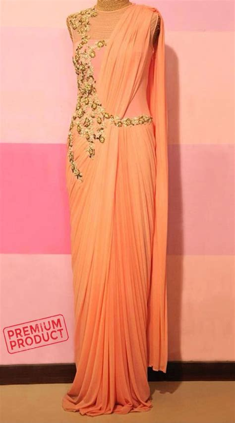 beautiful peach designer saree gown  party bp