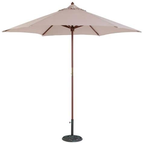 tropishade 9 ft wood market umbrella with beige polyester