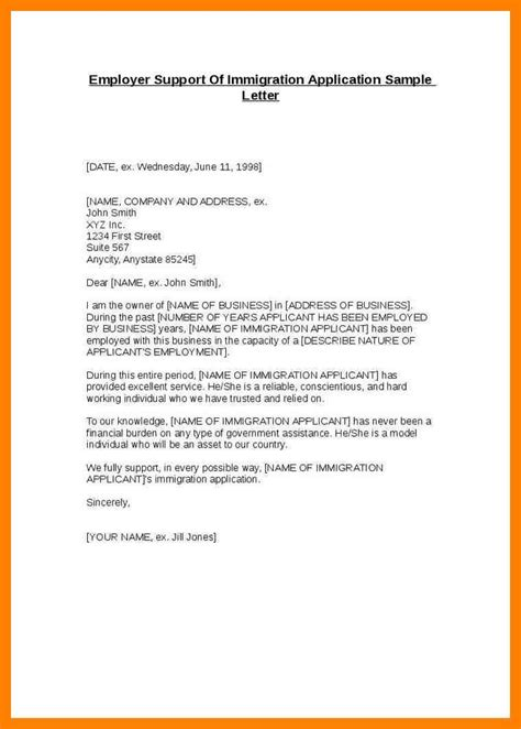 exles of letters of support sle letters of support for immigration resume cover 21617