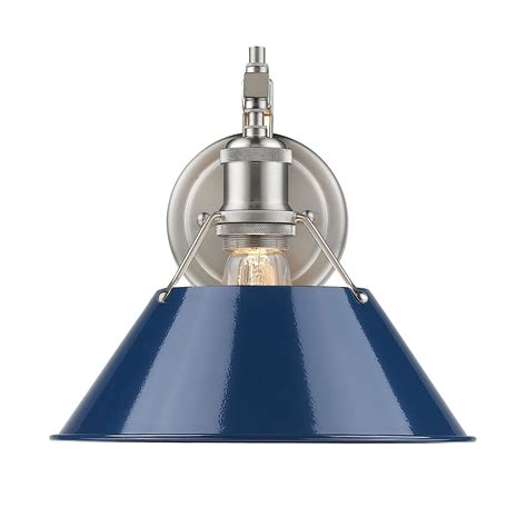 blue wall sconces orwell pewter one light wall sconce with navy blue shade
