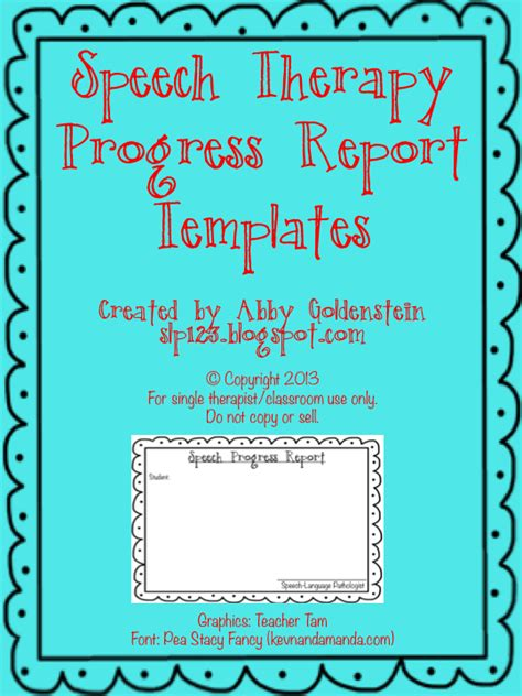 Speech Therapy Progress Report Template by Schoolhouse Talk Free Speech Therapy Progress Report
