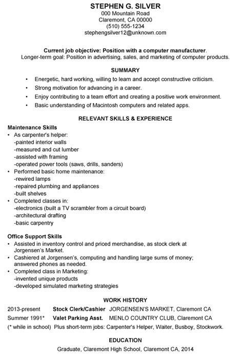brief resume exle brief resume template 1 page