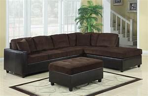 Chocolate corduroy dark brown vinyl sectional sofa with for Chocolate brown sectional sofa with chaise