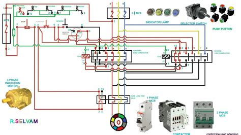 wiring phase diagram motor connection surge delta starter star protector protection contactor start stop device reverse forward dc circuit control
