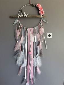 Attrape Reve Fille : attrape r ves en bois flott plumes roses et perles bois dreamcatchers pinterest dream ~ Teatrodelosmanantiales.com Idées de Décoration
