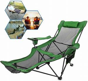 Vevor, Folding, Camp, Chair, Reclining, Mesh, Lounge, Chair, With, Footrest, -, Walmart, Com