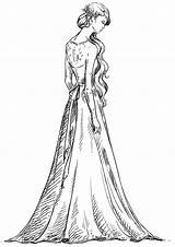 Coloring Pages Gown Printable Drawings sketch template