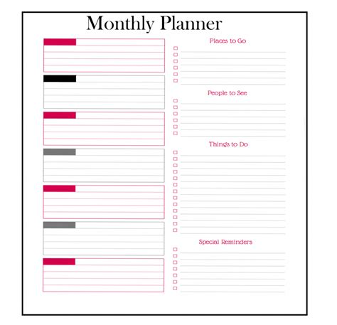 monthly planner templates  excel word
