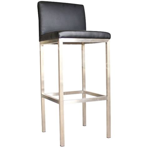 Office Max Chairs Nz by Rubik Bar Stool With Back Black Vinyl Silver Frame