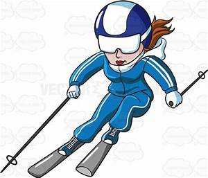 A Female Skier Speeding Down The Slope – Clipart by Vector ...