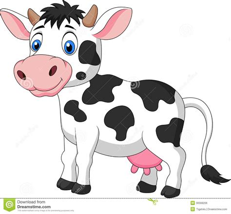 Cute Cow Cartoon Stock Vector Illustration Of Horned