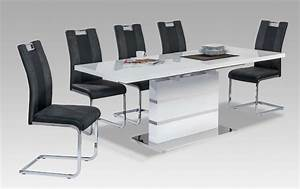 best table a manger blanche avec rallonge photos awesome With table salle a manger contemporaine