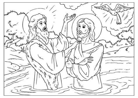 coloring page jesus baptized img