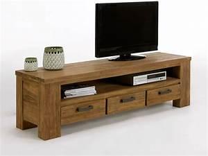 Meuble Tv Bois Massif Moderne : meuble tv pas cher bois meuble tv taupe trendsetter ~ Teatrodelosmanantiales.com Idées de Décoration
