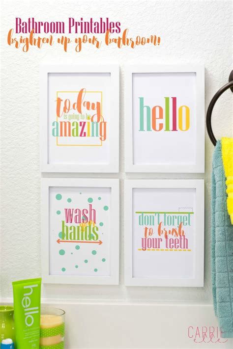 make your bathroom a happier place with these bright bathroom printables carrie elle