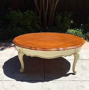 french provincial round antique scalloped two tone wood With two tone wood coffee table