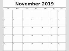 November 2019 Free Calendar Template