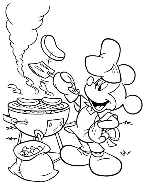 Barbeque Kleurplaten by Mickey Mouse Summertime Barbeque Coloring Page