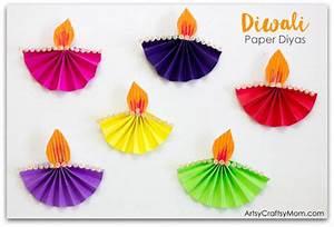Accordion Fold Diwali Paper Diya Craft - Artsy Craftsy Mom