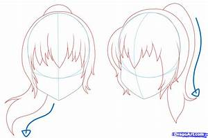 How to Draw Girl Hair, Step by Step, Anime Hair, Anime ...