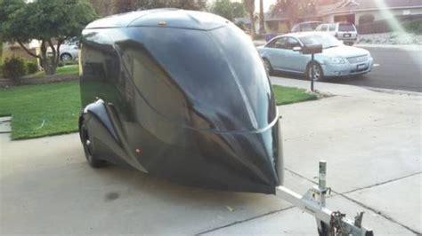 enclosed motorcycle trailer excalibur fiberglass hauler harley  los angeles