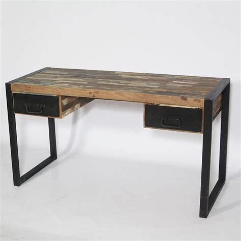 bureau en metal bureau bois et metal bureau en bois recycl et m tal achat