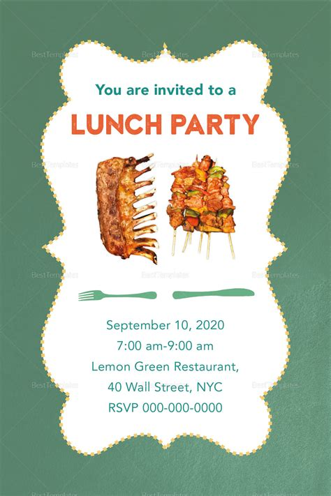 Lunch Party Invitation Design Template in PSD Word