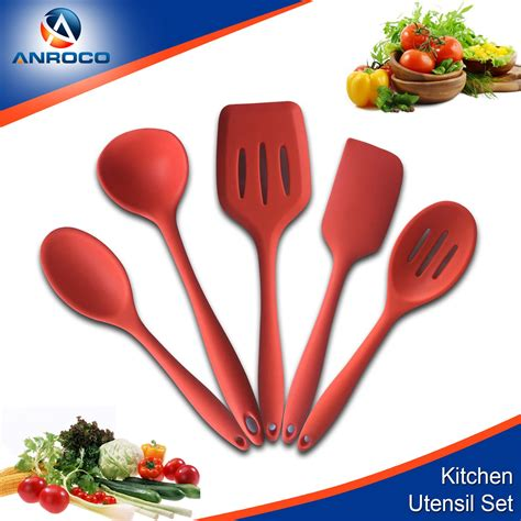 silicone utensil cooking utensils stick pieces non resistant heat kitchen spoonula laddle mixing spoon bpa spatula turner latex soup durable