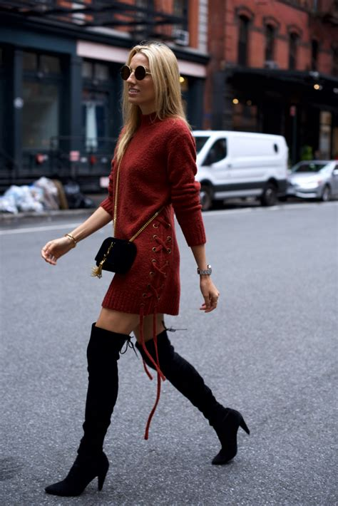 lace  sweater dress   knee boots mind body swagmind body swag