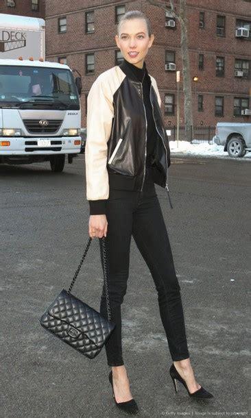 Karlie Kloss Chanel Bag Baseball Jacket Pants Wheretoget