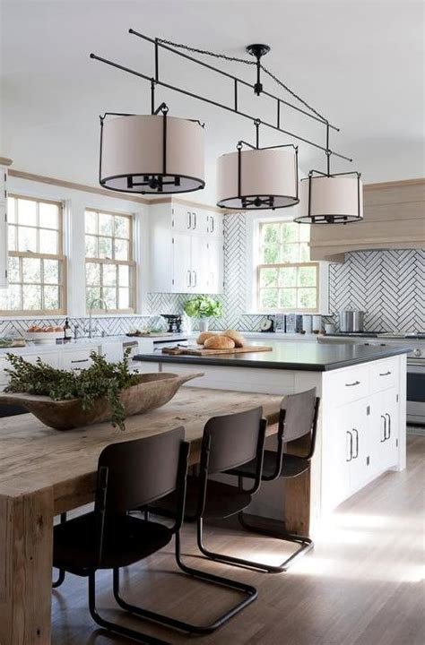 Shiplap Kitchen Island Next To Salvaged Wood Dining Table