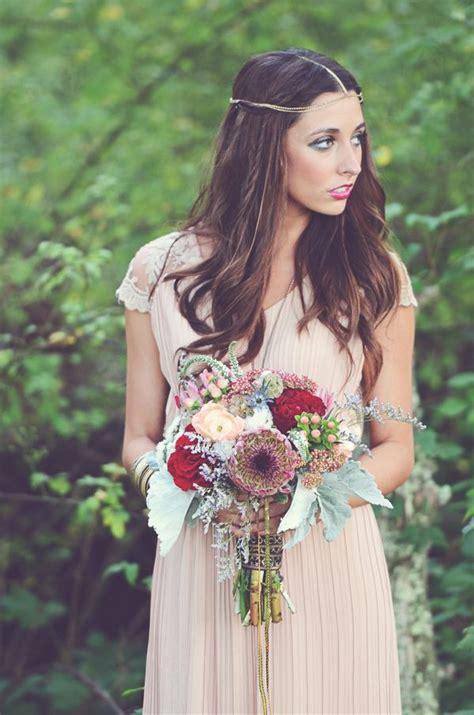 woodland bohemian wedding ideas berry toned wedding