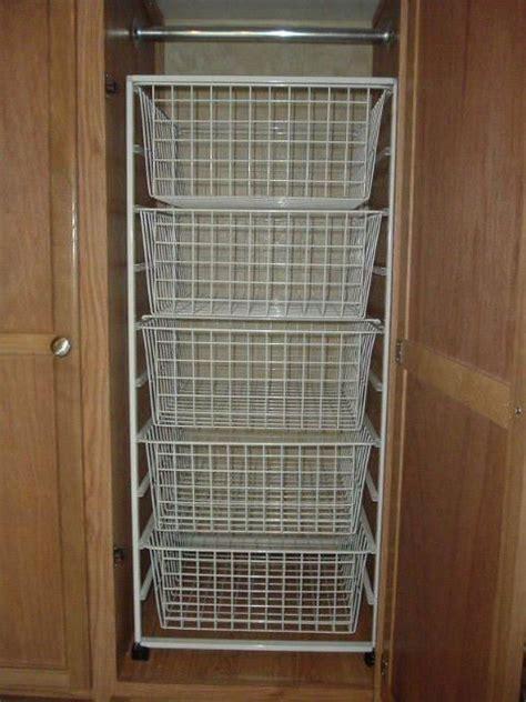 rv closet shelves and wire baskets modmyrv rv ideas