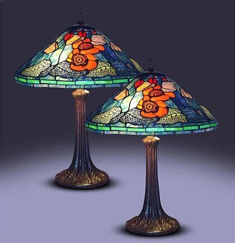 tiffany style golden poppy table ls set of 2