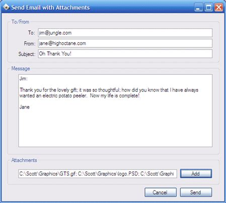 send email messages and attachments using c